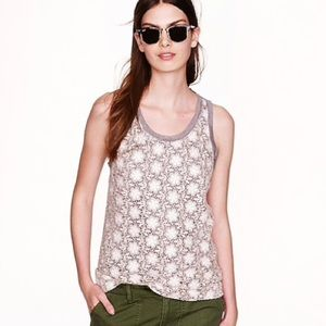 J. Crew crocheted lace tank grey and cream - G